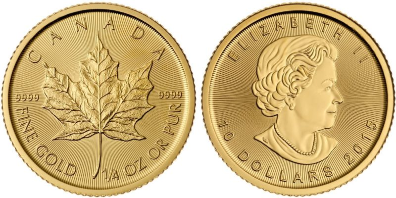 1/4 troy ounce gouden maple leaf 10 dollar